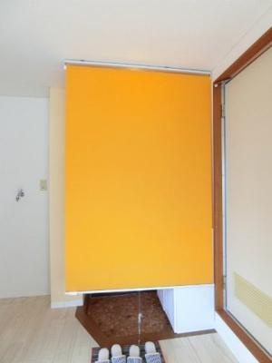 玄関にロールスクリーンが付いています!宅急便の受け取り時など、室内の目隠しになって便利ですね♪