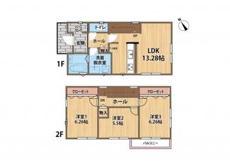 ジブンハウス仕様 建物プラン例 建物価格 1380万円 建物面積 81.97㎡