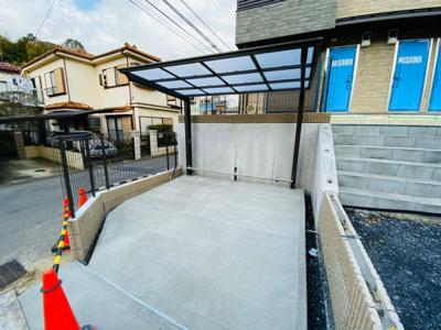 ※施工中※屋根付きの駐輪場で雨が降っても大切な自転車が濡れなくてすみますね♪荷物が重いときに自転車があれば助かりますね!
