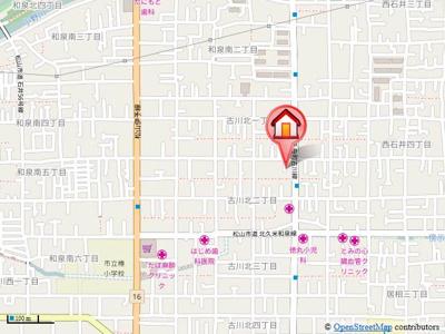 【地図】古川北2丁目借家・
