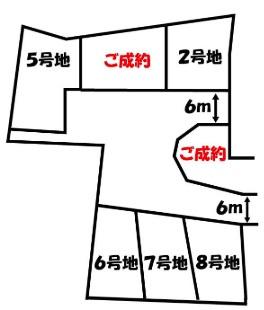 【区画図】伏見区桃山町泰長老 建築条件無し売土地