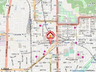 【地図】セキヤハイツ