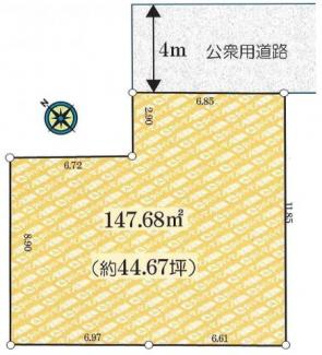 敷地147.68㎡(約44.67坪)