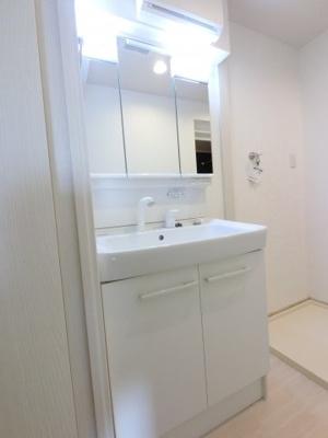 三面鏡付き洗面化粧台。洗面室も広々しています。三面鏡裏はコスメ等収納することが出来ます。