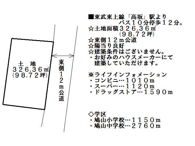 【土地図】比企郡鳩山町赤沼 売地