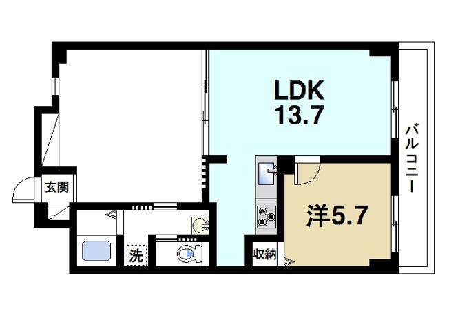 広い居室とゆったりとしたリビングが魅力的なお部屋です