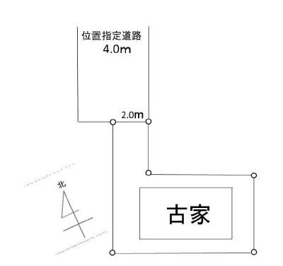 【区画図】建築条件なし狭山市笹井2丁目(上物有)・土地