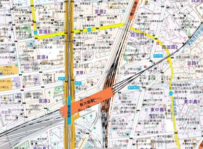 【地図】ベルデフラッツ新大阪