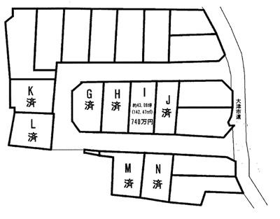 【区画図】雄琴1丁目 分譲8区画