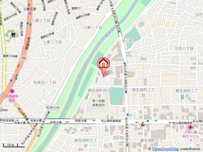 【地図】朝生田町佐藤貸家