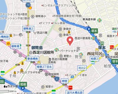【地図】ダイヤパレス塚本Ⅱ番館