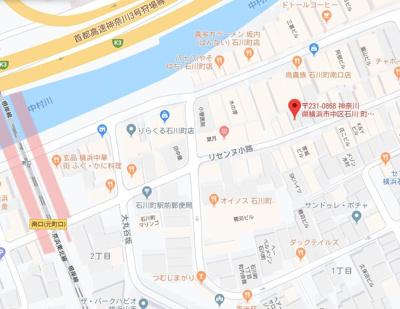 【地図】石川町1丁目店舗