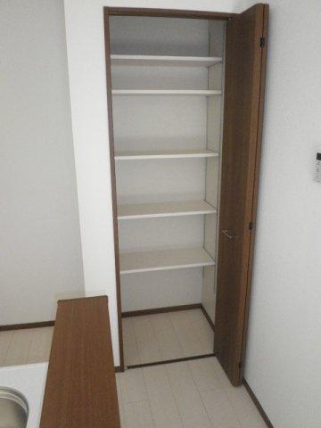 パントリーとしても使用できる収納庫があります!
