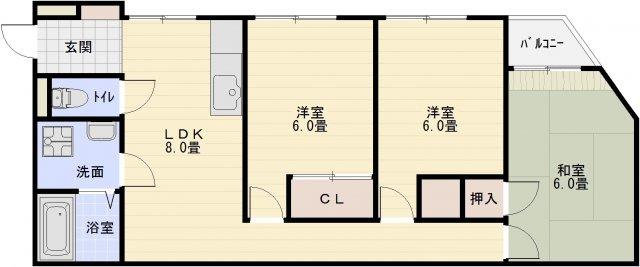 ハイツ四季(柏原市大県 堅下駅) 3DK