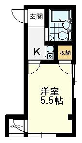 クレスト恋ヶ窪、203号室間取図、1K