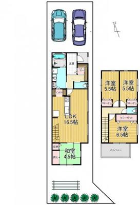 新築参考プラン 延床99.02平米(4LDK)南向きバルコニー 建物参考価格:1,880万円
