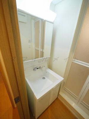 二面鏡・シャンプードレッサー付き・綺麗な独立洗面所です。