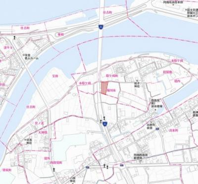 【地図】阿南市原ヶ崎町 貸倉庫等
