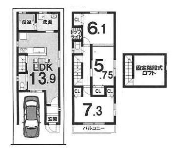 2階建プラン 1階:35.78㎡ 2階:43.07㎡ 建物1599万円 建築確認申請費用60万円別途(税別)