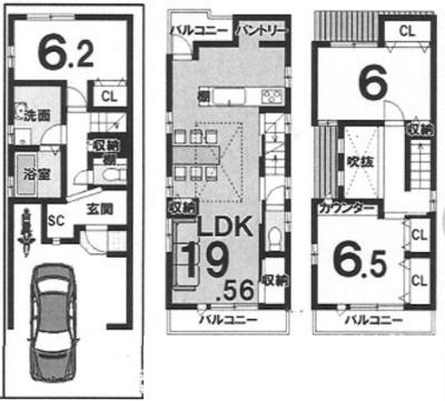 3階建プラン: 建物1,699万円、 建築面積97.18㎡(1F:28.45㎡、2F:38.61㎡、3F:30.12㎡) 木造3階建、3LDK、駐車場1台、 建築確認申請費用77万円別途要(税込)