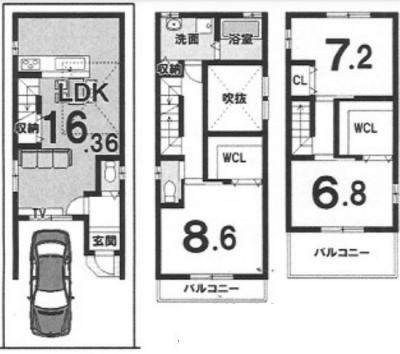 Eプラン: 建物1,699万円、 建築面積95.98㎡(1F:28.39㎡、2F:34.38㎡、3F:33.21㎡)、 木造3階建、3LDK、駐車場1台、 建築確認申請費用77万円別途要(税込)