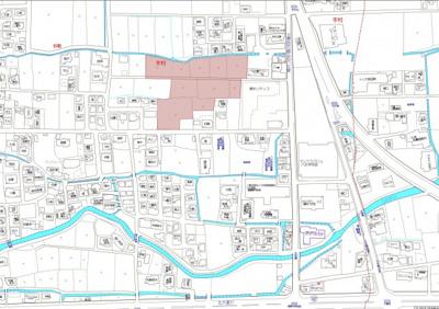 【地図】八女市本村てるてるタウン分譲地