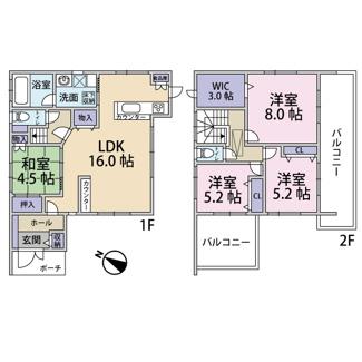 建物面積106.40㎡ 1F:60.03㎡ 2F:46.37㎡