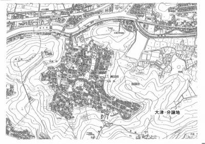 【地図】大津 分譲地