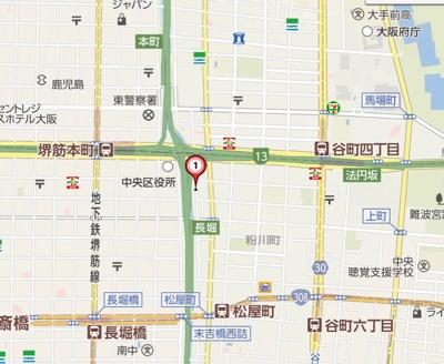 【地図】スワンズシティ堺筋本町
