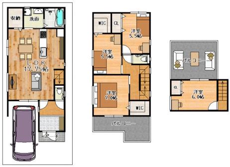 【2号地参考プラン図】 3階建て×4LDK×屋上バルコニー 普段味わう事ができない非日常空間を自宅にプラスしました。