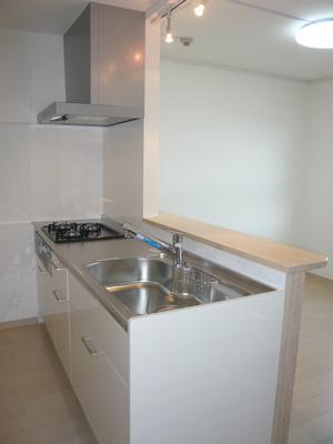 システムキッチン新調です。スライド収納タイプ。浄水器内蔵のハンドシャワー水栓付です。