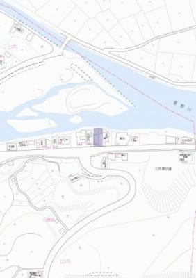 【地図】八女市 山内 土地 90坪以上
