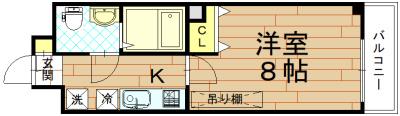 1K(洋室8帖×K)