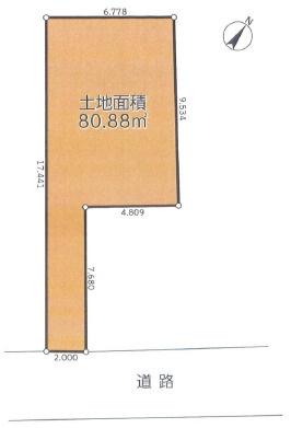 【土地図】高座郡寒川町一之宮5丁目 建築条件なし 売地