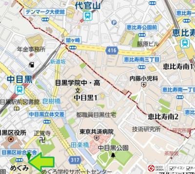 【地図】Cozy Flat 中目黒