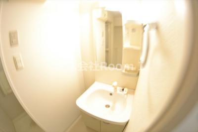 独立洗面台、小物を置くことができて便利です