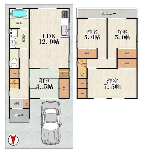 2階建て♪【4LDK+車庫】全居室、収納充実です♪