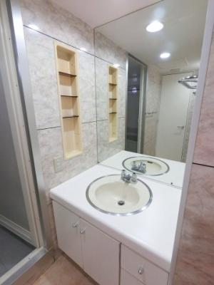 毎朝の身支度には欠かせない独立洗面台です。 スキンケア用品もたくさん収納できます。 大きめな洗面台なので朝の身支度もしやすそうです。