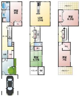 プランA: 建物価格3,280万円 延床面積152.27㎡(1F:52.65㎡、2F:46.98㎡、3F:38.47㎡、駐車場:14.17㎡)