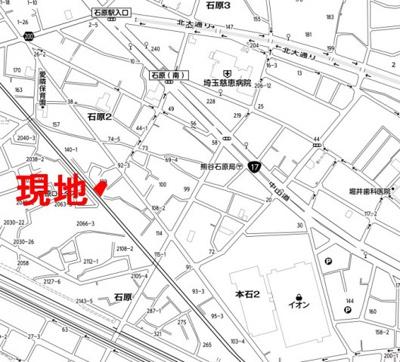 【地図】石原2丁目売地