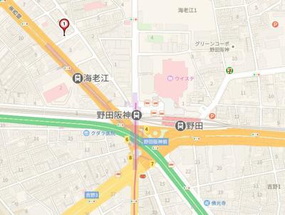 【地図】プレサンス野田阪神駅前 ザ・プレミアム