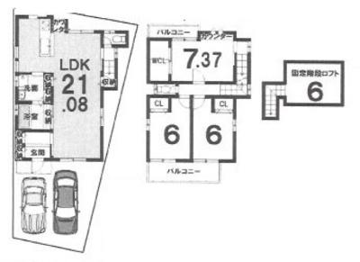 建物プラン 木造2階建て 3LDK 建築面積:95.29㎡  1F:50.13㎡ 2F:45.16㎡ 建築価格:1699万円