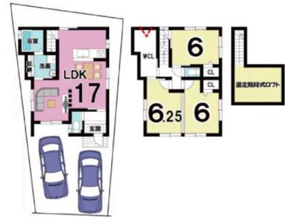 プラン: 建物1,599万円、 建築面積85.06㎡(1F:41.31㎡、2F:43.75㎡)、 3LDK、木造2階建、駐車場2台、 建築確認申請費用60万円別途要(税別)