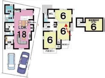 プランC: 建物1,599万円、 建築面積85.85㎡(1F:44.95㎡、2F:40.90㎡)、 3LDK、木造2階建、駐車場2台、 建築確認申請費用60万円、 外溝費100万円別途要(税別)