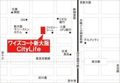 【地図】ワイズコート新大阪City Life駐車場