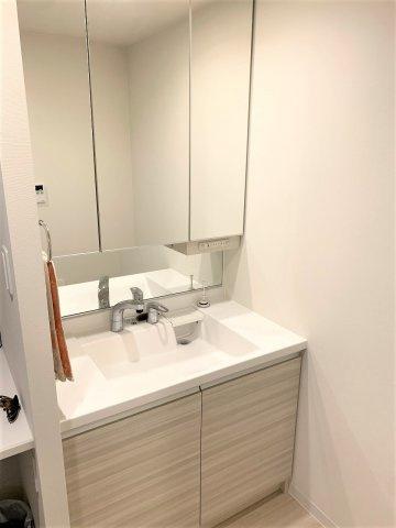 三面鏡タイプの洗面台。鏡裏に大容量の収納スペース。コンセント付で充電可能。撮影:2020.3.6