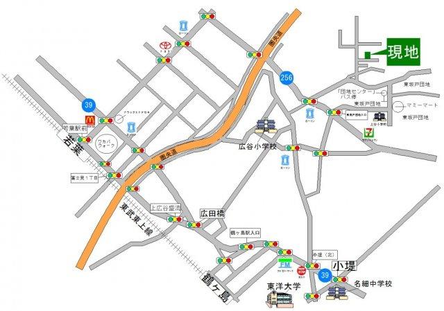若葉駅よりバス8分 「団地センター」バス停 停歩8分 他、鶴ヶ島駅より約3.05km