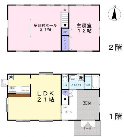 2LDK 2階の多目的ホール(21帖)は2部屋に仕切ることも可能です。