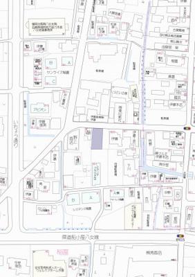 【地図】八女市稲富新築建売住宅