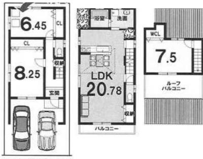 3FCプラン:建物1,999万円、建築面積104.56㎡(1F:38.65㎡、2F:48.46㎡、3F:17.45㎡)、3LDK、木造3階建、駐車場2台、建築確認申請費用70万円別途要(税別)